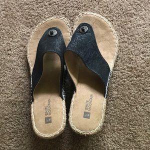 White Mountain. Black Wedge Sandals. Size 7.5.